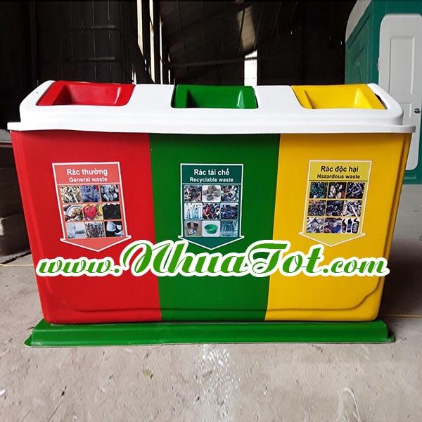 Thùng rác phân loại 3 ngăn