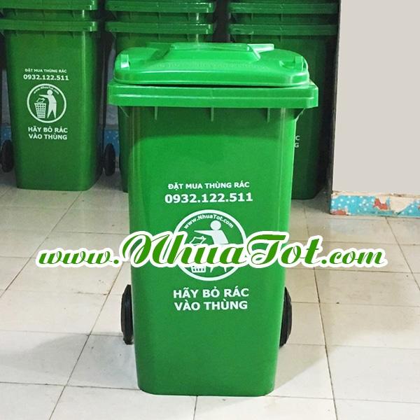 Thùng rác 240 lít, xanh lá