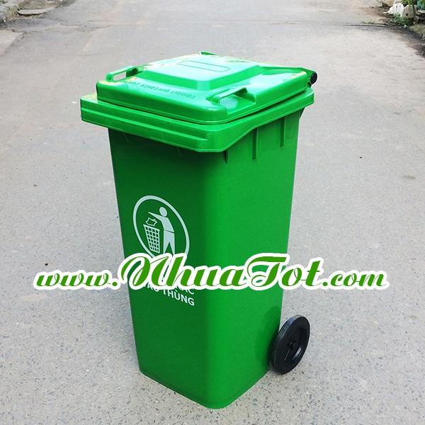 Thùng rác 120 lít, xanh lá