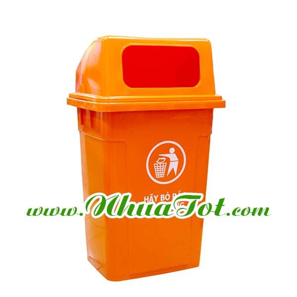Thùng rác 90 lít, nắp hở, màu cam