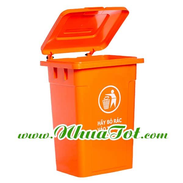 Thùng rác 90 lít, nắp kín, màu cam