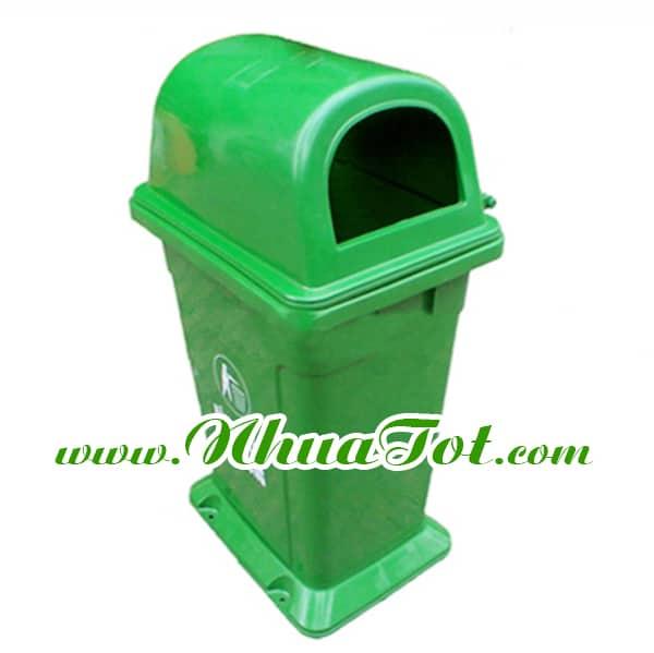 Thùng rác 95 lít, nắp hở, có đế, màu xanh