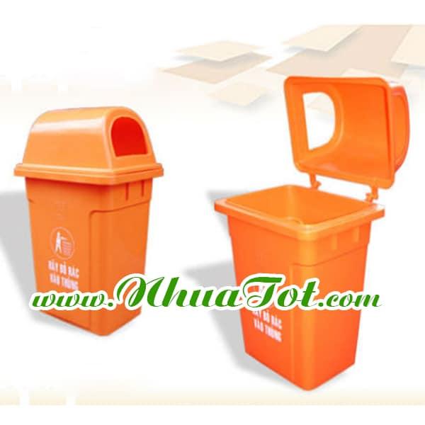 Thùng rác 95 lít, nắp hở, màu cam