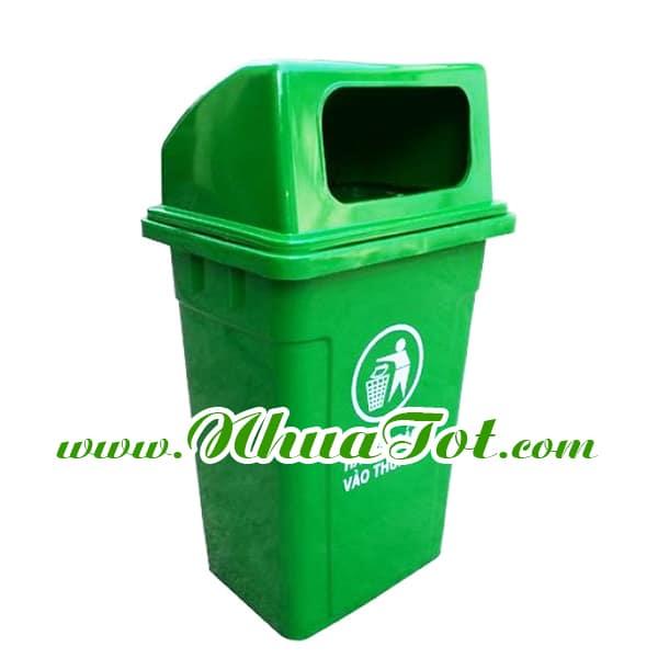 Thùng rác 95 lít, nắp hở, màu xanh