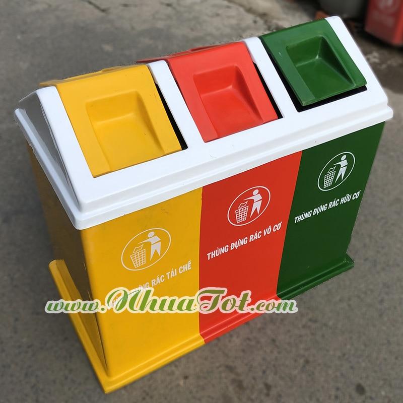 Thùng rác 3 ngăn phân loại rác