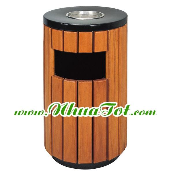 Thùng rác tròn ngoài trời giả gỗ