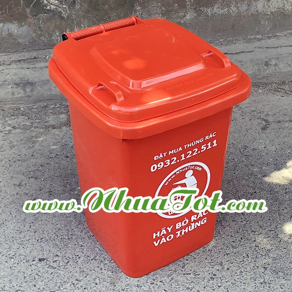 Thùng rác 60 lít màu cam