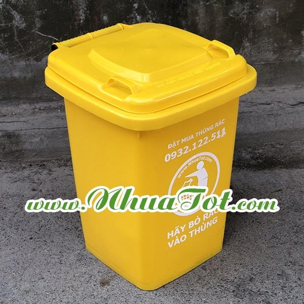 Thùng rác 60 lít màu vàng