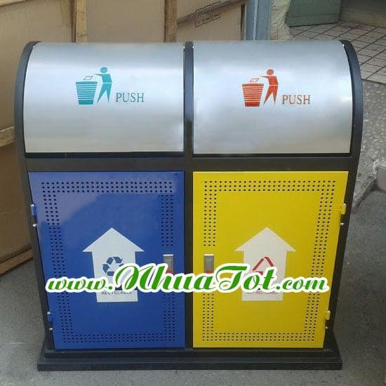 Thuùng rác phân loại 2 ngăn